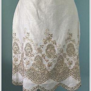 Ann Taylor Embroidered Linen Skirt
